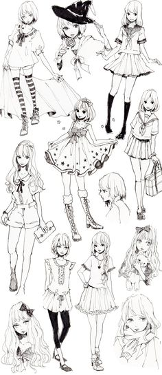 Different Poses & Clothes References. This sheet has a lot of nice, simple poses, plus some other helpful references.