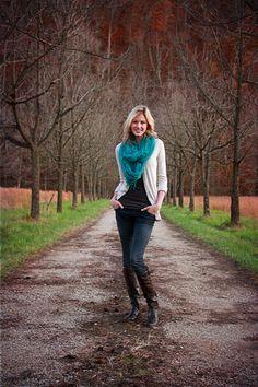 Senior girl wooded road pose