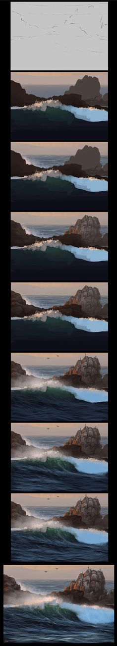 Ocean Speedpainting Process by AaronGriffinArt
