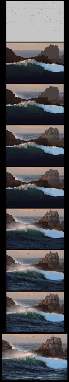 Ocean Speedpainting Process by AaronGriffinArt