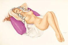 Pin-up and Glamour Art, ALBERTO VARGAS (American, 1896-1982). Just Add Mistletoe,Playboy Vargas Girl pin-up illustration, March 1971.Watercolo...