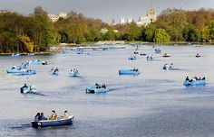 People enjoy the Bank Holiday sun in pedalos and rowing boats on the Serpentine in London's Hyde Park Picture: PA