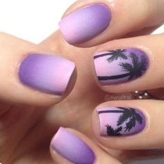 Purple Ombre Palm Tree Nails Great for Summer - Nagel Kunst Purple Nail Art, Purple Nail Designs, Cute Nail Designs, Matte Purple Nails, Tropical Nail Designs, Beach Nail Designs, Pretty Designs, Black Nails, Cute Acrylic Nails