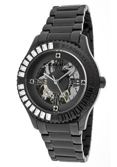 BCBG Women's Vip Glam Automatic Skeletonized See-Thru Black Dial Black Ion Plated SS