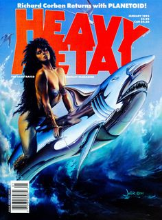 JULIE BELL (American, b. Beauty and the Steel Beast, Heavy Metal magazine cover, January 1992 Oil on - Available at 2013 Apr 11 - 12 Beverly Hills. Julie Bell, Heavy Metal Comic, Heavy Metal Girl, Boris Vallejo, Metal Magazine, Magazine Art, Magazine Covers, Horror Comics, Horror Art