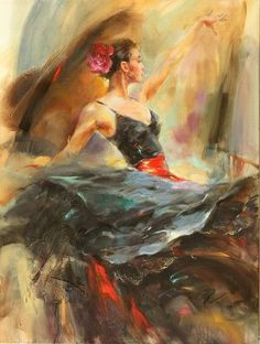Flamenco Solea by Anna Razumovskaya ... beautiful!!... view more dance paintings from http://www.paintingsframe.com/Jack+Vettriano-painting-c36.html