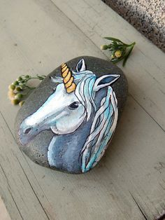 Fantasy UNICORN Hand Painted Beach Stone Paperweight