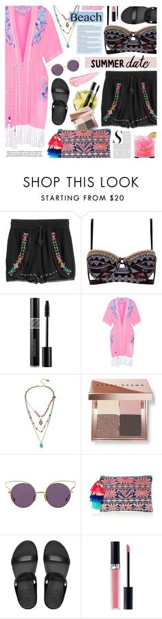 """Summer Date: the Beach"" by noviii ❤ liked on Polyvore featuring Daphne, River Island, Christian Dior, Matthew Williamson, Betsey Johnson, Bobbi Brown Cosmetics, Dita, Figue, FitFlop and Anja"