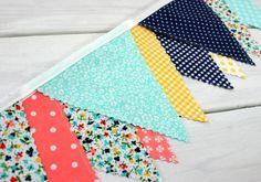 Bunting Fabric Banner, Fabric Flags, Nursery Decor - Mint Green, Navy Blue, Yellow, Coral Pink, Aqua Blue, Chevron Flowers, Vintage Market