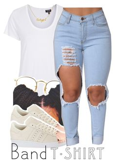 """""""all about the basics."""" by trinityannetrinity ❤ liked on Polyvore featuring Topshop, Ray-Ban and adidas Originals"""