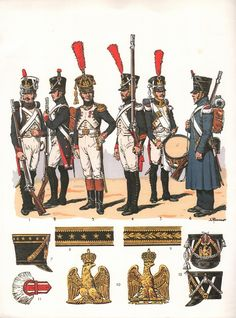 Fusiliers grenadiers de la Garde 1806-1814. 1) Fusulier 1806-1807 2) Fusilier 1809 3) Officier subalterne 1809-1813 4) Caporal 1809-1813 5) Tambour 1809-1813 6. Fusilier en tenue de route 1813-1814    4.