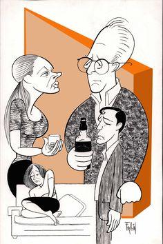 Ken Fallin // Who's Afraid of Virginia's Woolf on PLAYBILL.com Virginia Woolf, Caricatures, Illustration, Anime, Art, Art Background, Illustrations, Kunst, Caricature