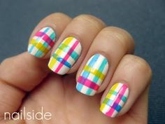 Do you remember the neon crackle mani ? Well, when I was working on that mani, I discovered you could do pretty cool. Plaid Nail Art, Plaid Nails, Hot Nails, Hair And Nails, Nailart, Funky Nails, Crazy Nails, Nail Art Blog, Easter Nails