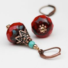 Ruby Red and Turquoise Earring by TwoHeartArt on Etsy, $22.00