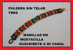 PULSERA SIN TELAR TRES Herringbone Necklace, Beaded Jewelry, Beaded Bracelets, Native American Beading, Youtube, Kid Crafts, Projects, Scrapbooking, Decor
