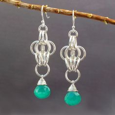 Green Onyx Sterling Silver Chainmaille Earrings - Butterfly