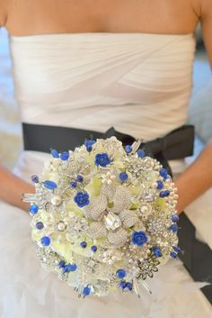 royal blue and silver heirloom brooch bouquet