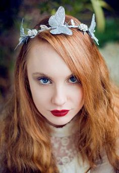 Silver Glitter Butterfly and Floral Hair Garland Crown