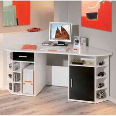 Attractive White Corner Computer Desk For Small Spaces And Home Office With Modern Design White Corner Computer Desk, Black Corner Desk, Wood Corner Desk, Corner Workstation, Home Office Computer Desk, Corner Office, Computer Tables, Office Desks, Black Office Furniture