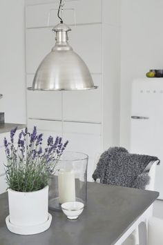 Rustic white kitchen with industrial style lamp
