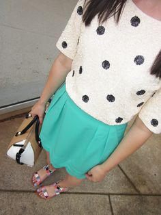 @J.Crew polka dot sequin top, @Debanjali Kundu scalloped skirt