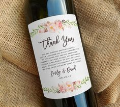 Wine Bottle Thank You Label Wedding Favor Gift Centerpiece