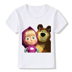 2017 Children Print T-Shirts Kids Summer Tops Girls Boys Short Sleeve T shirt Cartoon Masha And The Bear Baby Clothes Kids Shorts, Boy Shorts, Pijama Frozen, Masha And The Bear, Summer Kids, Cute Tops, Girl Outfits, Teddy Bear, Cartoon