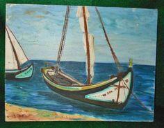 Marine Seascape Landscape Sailboats Vintage Haitian Painting Wooden Boats