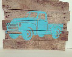 Truck silhouette rustic farm truck pallet wood art sign