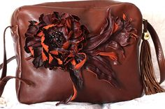 Brown Leather Flower Bag artS62R63req43452 by meudeus on Etsy, $395.00