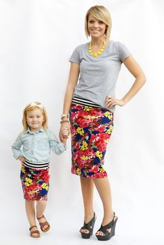 Matching mommy/daughter pencil skirts! By far the most COMFORTABLE thing I own!