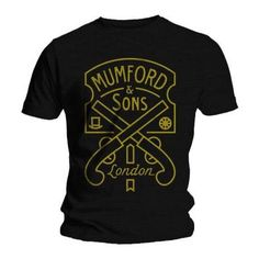 Official T Shirt MUMFORD AND SONS Black PISTOL LABEL Logo All Sizes