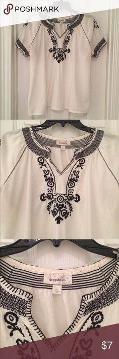Dress Barn Blouse White blouse with navy blue embroidery. Slight discoloring on the back of neck from makeup. Not noticeable when worn. Dress Barn Tops Blouses