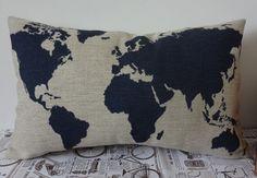 Dark Blue World Map Cushion Cover Linen Pillow by SnowLittleShop, $16.00