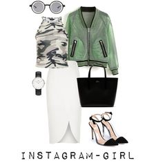 Instagram-girl by sintony on Polyvore featuring мода, New Look, River Island, Gianvito Rossi, Lacoste, Daniel Wellington and DAMIR DOMA