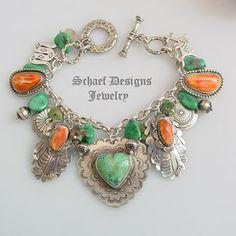 Schaef Designs Orange Spiny Oyster Shell & Haley's Comet Turquoise & Sterling Silver Charm Bracelet