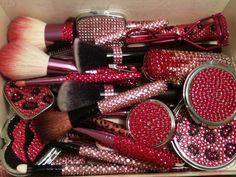bling pink makeup tools