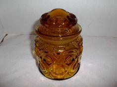 Smallest Amber Glass Moon And Star Canister Jar offered by #rubylane shop Saltymaggie's Treasures