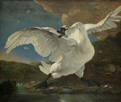 With its wings stretched and its neck poised, the swan protects her eggs against a dog swimming nearby. Showing the scene from a low angle emphasises the bird's power.   The inscriptions are a later addition and have a political message. They refer to the Dutch political leader Johan de Witt, who defended the Dutch state against its many enemies. 1640, Jan Asselijn.