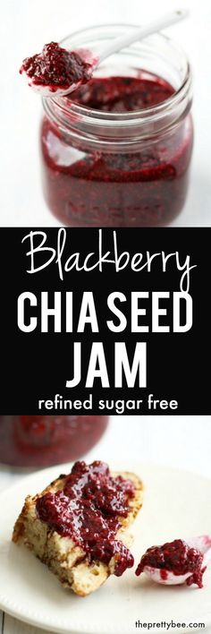 This blackberry chia seed jam is so easy to make and no pectin is required! It's delicious, healthy, and refined sugar free! Dairy Free Recipes, Whole Food Recipes, Vegan Recipes, Gluten Free, Sweets Recipes, Vegan Dishes, Healthy Desserts, Vegan Sweets, Healthy Food