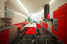 25 Extraordinary Modern Kitchen Designs : 25 Extraordinary Modern Kitchen Designs With Black And Red Kitchen Interior And Furniture Design Design My Kitchen, Kitchen Cabinet Design, Interior Design Kitchen, Interior Modern, Red Kitchen, Kitchen Colors, Kitchen Decor, Kitchen Island, Huge Kitchen
