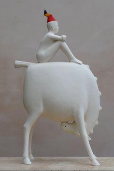 "red - man with horse - ""The hat"" - Le Chapeau - figurative sculpture - Eoghan Bridge Art Sculpture, Animal Sculptures, Ceramic Animals, Ceramic Art, Arte Popular, Horse Art, Art Object, New Art, Art Dolls"
