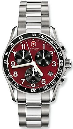 Men's Wrist Watches - Victorinox Swiss Army Mens 241148 Classic Chronograph Red Dial Watch ** You can get additional details at the image link. (This is an Amazon affiliate link)