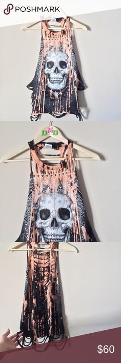 ✂️✨CUSTOM • Cut Bleach bling stud skull muscle tee ♠️ COMPLETELY CUSTOM CUT UP EMBELLISHED BLING STUDDED BLEACHED DISTRESSED MUSCLE TANK/TEE • Cut from a regular tshirt, made into a sleeveless muscle tee,  splattered almost completely with bright bleach, has bling and studs all over. sides are open! can be loose or tight. it definitely BLINGS (hard to show in photos). BAD A$$! ♠️ SIZE SMALL  ☠️ BUNDLEtoSAVE ☠️ ACCEPTING OFFERS ☠️ 〰    #custom #muscletee #muscletank #skull #sparkle #stud…