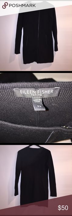 Eileen Fisher Petite Long Sweater Authentic, pre-loved Eileen Fisher Petite black long sweater with zipper. Body is silk/cotton with leather trim.  Size: Petite Small  Condition: Great, but does need to be dry-cleaned Eileen Fisher Sweaters