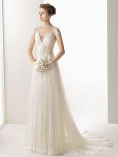 A-line/Princess V-neck Short Sleeves Tulle Lace Wedding Dresses