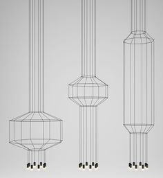 Wireflow' by Arik Levy for Vibia // 'Wireflow' explores geometries in two and three dimensions through a series of pendant lighting fixtures which are composed of simple elements, whereby from certain angles they appear flat, like a line drawing suspended in the air Source: http://www.yellowtrace.com.au/thin-black-lines-revisited/