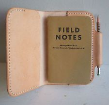 Handmade in the UK Leather Notebook Cover with Field Notes Notebook and Pencil