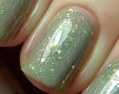 Misty Mountains Nail Polish - MINI - sage green with iridescent shimmer and gold glitter