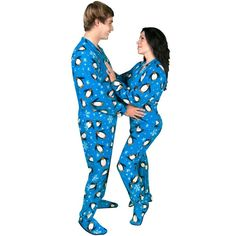 Penguin Fleece Adult Footed Pajamas with Drop Seat Back - *LIMITED SIZES*